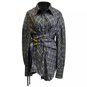 PLAID WAIST WRAP SHIRT DRESS